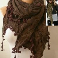 Brown Women Shawl Scarf - Headband Necklace Cowl/75755712