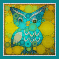 Little Blue Owl 5x5 Metallic Canvas Textured Art by artstudio54