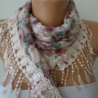 Multicolor Scarf  -  Headband Necklace Cowl with Lace Edge/75714490