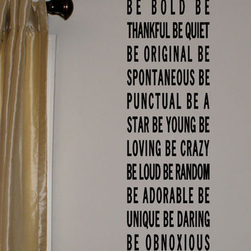 Be Bold Be Yourself Vinyl Wall Lettering by daydreamerdesign