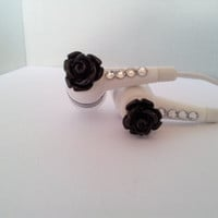 Black Rose Flower earbuds