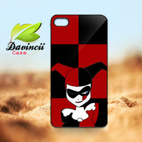 iPhone 4 4s / 5 Case - Harley Quinn Batman Joker Cute Face Apple iPhone Case -  Hard Case iP4 ( Black / White Color Case )