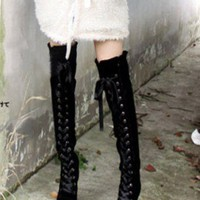 Ladies Faux Suede Lace Up Block Heeled Over The Knee Thigh High Lolita Boots #78