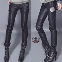 Punk Armor Diamond Quilt Embroider Biker PU Vegan Leather Skinny Cigarette Pants