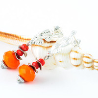 Dangle Beadwork Earrings Neon Orange Spring Earrings Summer Jewelry Gift For Her Stud Earrings
