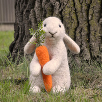 Handmade Needle Felted Wool Rabbit Bunny by BinneBear on Etsy
