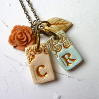Personalized letter necklace  My Kid's initials by Palomaria