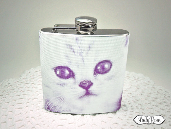 Cute Cat Flask 6 oz  Purple Pussycat  Cat Accessories by LadyRene