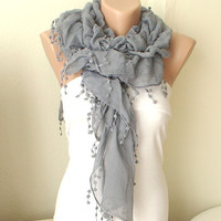 NEW 2012 Spring Model Gray Ruffle Scarf from 100 coton by Periay