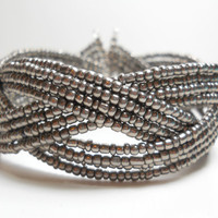 Braided Cuff Bracelet Silver Grey Beaded Cuff Bracelet