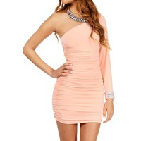 Peach Single Shoulder Dress