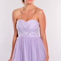 Lavender Beaded Top Strapless Dress