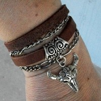 Antique Silver Chain and Leather Wrap Bracelet with Bull Head Charm | JabberJewels - Jewelry on ArtFire