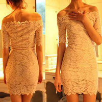 Free Shipping Lace Dress Elegant Boat Neck Short Sleeve Solid Color