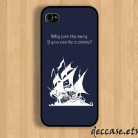 IPHONE 5 CASE White anchor on blue word pirate steve jobs quote iPhone 4 case iPhone 4S case iPhone case Hard Plastic Case Soft Rubber Case