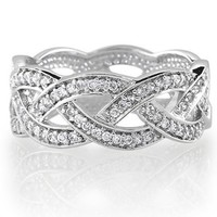 BERRICLE Sterling Silver Cubic Zirconia CZ Accent Woven Design Engagement Wedding Ring Band