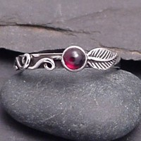 Sterling Silver Garnet Ring   RAMBLING ROSE by SunnySkiesStudio