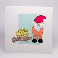 Greeting Card - Gnome Hadmade Greeting Card -Birthday card - Blank Card