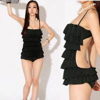 Womens Tiered Ruffles Monokini One-piece Backless Swimwear Swimsuit
