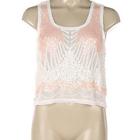 Melrose Sequin Crop Top - Light Pink + White -  $40.00 | Daily Chic Tops | International Shipping