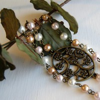 Flower Brass Charm With Pearls Bracelet | Luulla