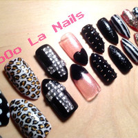 Stiletto Fashion Patterned Nails with Louboutin Inspired Bottom