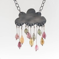 Cumulonimbus Statement Sterling Silver Cloud Necklace oxidized Tourmaline Gemstone Rain Romantic Original Colorful Drops Gift Under 100