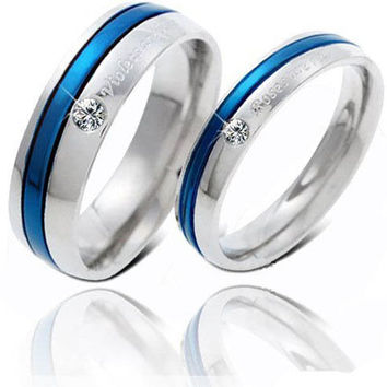 Engravable 316L Titanium Steel Blue Couple Promise Ring - GULLEITRUSTMART.COM