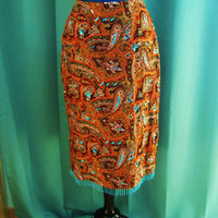 vintage 100% silk paisley sequined and beaded skirt. size S. made in the USA. T.T. Mar