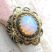 Sierra Sunrise Ring - Harlequin Art Glass Opal in Antiqued Brass