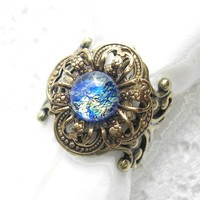 StarStruck - Vintage Glass Opal Antiqued Brass Ring