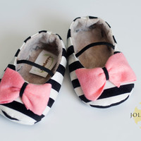 MAYA baby girl shoes  black and cream stripe with by JolieBerry