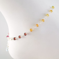 NEW Gemstone Anklet, Bright Colorful Rainbow, Genuine Semiprecious Stones, Gold or Sterling Silver Jewelry, Free Shipping