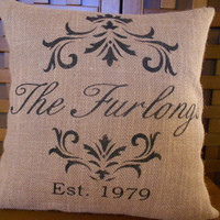 Burlap pillow cover family name established by LaRaeBoutique