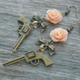 Gun Earrings with Peach Roses and Bows, Pistol Earrings, Revolver Earrings, Western Pistol Jewelry, Bow Earrings, Metal, Punk Rock n Roll,