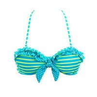 Polka Dots &amp; Stripes Ruffled Bikini Top: Charlotte Russe