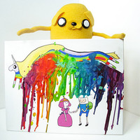 Too Young - Adventure Time Inspired Painting - Finn - Princess Bubblegum -  Rainbow - Colors - Melted Crayon