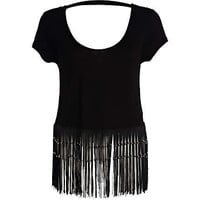 Black fringed backless boxy crop top - t-shirts - tops - women