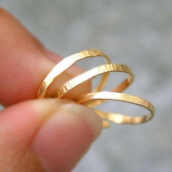 3 Above Knuckle Rings Stacking Set Gold Brass Thin Textured and Smooth