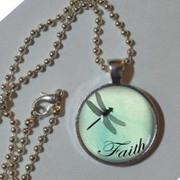 Faith. Green dragonfly faith pendant necklace. 1&#x27; glass, metal, chain. Metal Pendant, Chain. Dragonfly Jewelry. Dragonfly Pendant, Art Photo Pendant, Necklace,