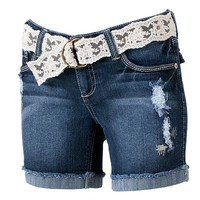 Wallflower Distressed Bermuda Shorts - Juniors
