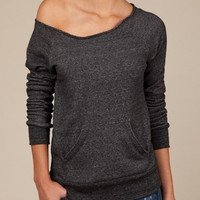 Dark Grey Off the Shoulder Sweatshirt