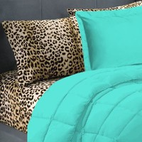 5 Piece Turquoise Leopard Twin Extra Long Bedding Set: Home &amp; Kitchen