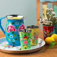 VivaTerra - Flowered Enamel Pitcher, Cups &amp; Trap