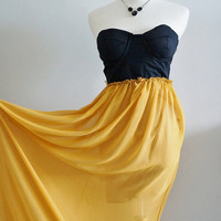 Strapless Vintage Black Mustard Bridesmaid Chiffon Prom by MaineSG