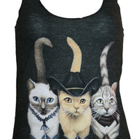 Hipster Cats in Boots Tank Top American Apparel Black XS S M L