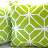 Trina Turk Trellis Bright Apple Green pillow cover 16 x 16