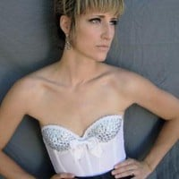 Party Top - Diamonds are Forever White Bustier | UsTrendy