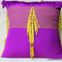Purple and Yellow Ethnic Woven Karen Pillow - 26""