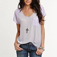 Kirra Raglan Sleeve Chiffon Shirt at PacSun.com